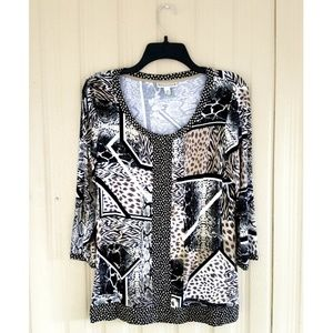Animal Print 3/4 Sleeve Blouse Top Shirt Leopard